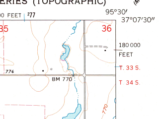 Reduced fragment of topographic map en--usgs--024k--009450--(1962)--N037-07-30_W095-37-30--N037-00-00_W095-30-00