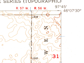 Reduced fragment of topographic map en--usgs--024k--009466--(1957)--N046-07-30_W097-52-30--N046-00-00_W097-45-00; towns and cities Cogswell