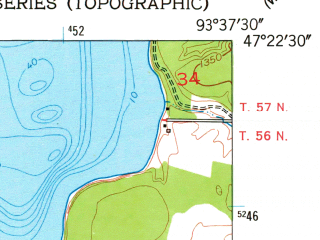 Reduced fragment of topographic map en--usgs--024k--009473--(1953)--N047-22-30_W093-45-00--N047-15-00_W093-37-30