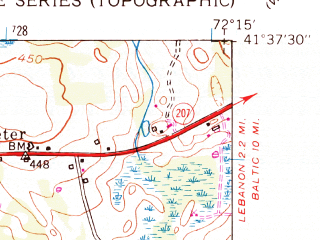 Reduced fragment of topographic map en--usgs--024k--009492--(1953)--N041-37-30_W072-22-30--N041-30-00_W072-15-00; towns and cities Colchester