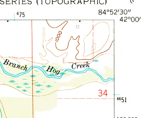 Reduced fragment of topographic map en--usgs--024k--009518--(1960)--N042-00-00_W085-00-00--N041-52-30_W084-52-30; towns and cities Quincy