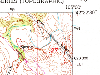 Reduced fragment of topographic map en--usgs--024k--009538--(1950)--N042-22-30_W105-07-30--N042-15-00_W105-00-00