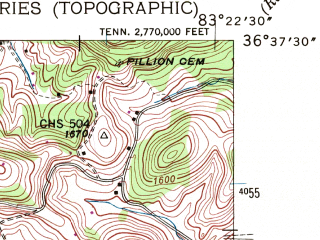 Reduced fragment of topographic map en--usgs--024k--009542--(1946)--N036-37-30_W083-30-00--N036-30-00_W083-22-30