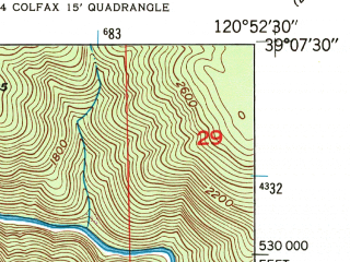 Reduced fragment of topographic map en--usgs--024k--009562--(1949)--N039-07-30_W121-00-00--N039-00-00_W120-52-30; towns and cities Colfax