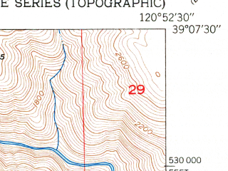 Reduced fragment of topographic map en--usgs--024k--009562--(1951)--N039-07-30_W121-00-00--N039-00-00_W120-52-30; towns and cities Colfax