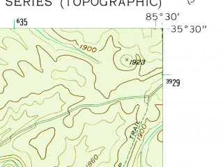 Reduced fragment of topographic map en--usgs--024k--009600--(1956)--N035-30-00_W085-37-30--N035-22-30_W085-30-00
