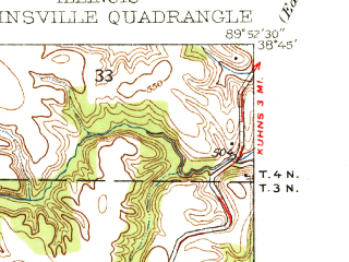 Reduced fragment of topographic map en--usgs--024k--009615--(1937)--N038-45-00_W090-00-00--N038-37-30_W089-52-30; towns and cities Collinsville, Troy, Maryville