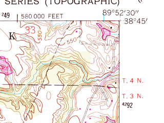 Reduced fragment of topographic map en--usgs--024k--009615--(1954)--N038-45-00_W090-00-00--N038-37-30_W089-52-30; towns and cities Collinsville, Troy, Maryville