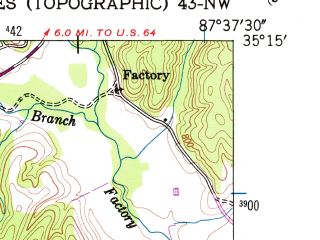 Reduced fragment of topographic map en--usgs--024k--009618--(1951)--N035-15-00_W087-45-00--N035-07-30_W087-37-30; towns and cities Collinwood