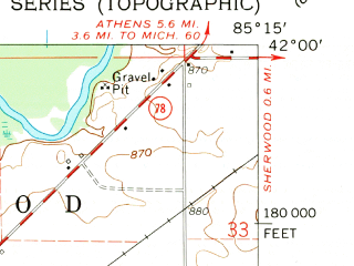 Reduced fragment of topographic map en--usgs--024k--009635--(1961)--N042-00-00_W085-22-30--N041-52-30_W085-15-00; towns and cities Colon
