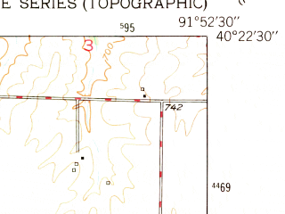 Reduced fragment of topographic map en--usgs--024k--009645--(1950)--N040-22-30_W092-00-00--N040-15-00_W091-52-30