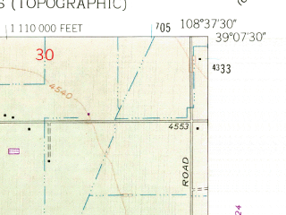 Reduced fragment of topographic map en--usgs--024k--009654--(1962)--N039-07-30_W108-45-00--N039-00-00_W108-37-30; towns and cities Redlands