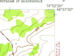 Reduced fragment of topographic map en--usgs--024k--009665--(1943)--N044-37-30_W075-00-00--N044-30-00_W074-52-30