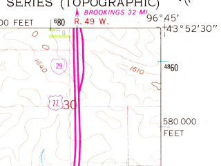 Reduced fragment of topographic map en--usgs--024k--009669--(1962)--N043-52-30_W096-52-30--N043-45-00_W096-45-00