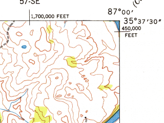 Reduced fragment of topographic map en--usgs--024k--009673--(1949)--N035-37-30_W087-07-30--N035-30-00_W087-00-00; towns and cities Columbia