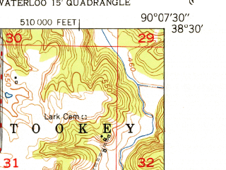 Reduced fragment of topographic map en--usgs--024k--009677--(1951)--N038-30-00_W090-15-00--N038-22-30_W090-07-30; towns and cities Columbia