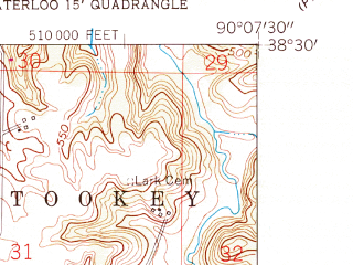 Reduced fragment of topographic map en--usgs--024k--009677--(1955)--N038-30-00_W090-15-00--N038-22-30_W090-07-30; towns and cities Columbia