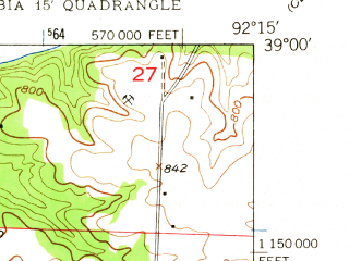 Reduced fragment of topographic map en--usgs--024k--009681--(1948)--N039-00-00_W092-22-30--N038-52-30_W092-15-00; towns and cities Columbia