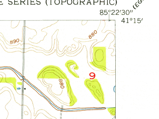 Reduced fragment of topographic map en--usgs--024k--009684--(1955)--N041-15-00_W085-30-00--N041-07-30_W085-22-30; towns and cities Columbia City, Tri-lakes