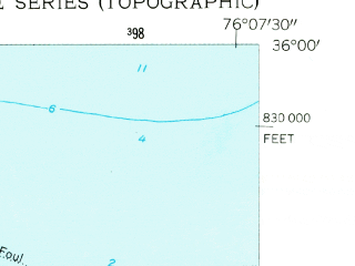 Reduced fragment of topographic map en--usgs--024k--009685--(1953)--N036-00-00_W076-15-00--N035-52-30_W076-07-30
