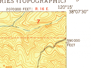 Reduced fragment of topographic map en--usgs--024k--009695--(1949)--N038-07-30_W120-22-30--N038-00-00_W120-15-00; towns and cities Mono Vista, Phoenix Lake-cedar Ridge