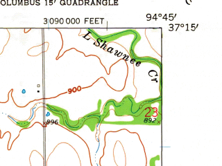 Reduced fragment of topographic map en--usgs--024k--009704--(1958)--N037-15-00_W094-52-30--N037-07-30_W094-45-00; towns and cities Columbus