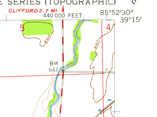 Reduced fragment of topographic map en--usgs--024k--009705--(1958)--N039-15-00_W086-00-00--N039-07-30_W085-52-30; towns and cities Columbus