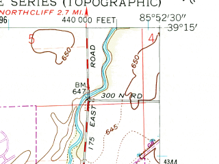 Reduced fragment of topographic map en--usgs--024k--009705--(1962)--N039-15-00_W086-00-00--N039-07-30_W085-52-30; towns and cities Columbus