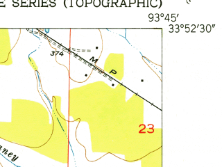 Reduced fragment of topographic map en--usgs--024k--009706--(1951)--N033-52-30_W093-52-30--N033-45-00_W093-45-00