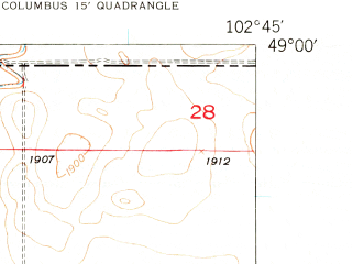 Reduced fragment of topographic map en--usgs--024k--009710--(1947)--N049-00-00_W102-52-30--N048-52-30_W102-45-00; towns and cities Columbus, Larson