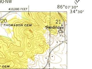 Reduced fragment of topographic map en--usgs--024k--009716--(1949)--N034-30-00_W086-15-00--N034-22-30_W086-07-30