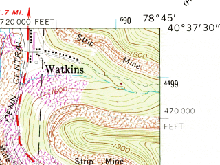 Reduced fragment of topographic map en--usgs--024k--009732--(1961)--N040-37-30_W078-52-30--N040-30-00_W078-45-00; towns and cities Colver