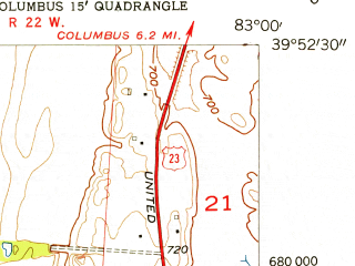 Reduced fragment of topographic map en--usgs--024k--009766--(1955)--N039-52-30_W083-07-30--N039-45-00_W083-00-00; towns and cities Grove City, Commercial Point