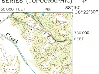 Reduced fragment of topographic map en--usgs--024k--009772--(1957)--N036-22-30_W088-37-30--N036-15-00_W088-30-00