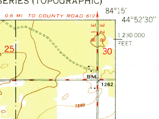 Reduced fragment of topographic map en--usgs--024k--009790--(1951)--N044-52-30_W084-22-30--N044-45-00_W084-15-00 in area of East Twin Lake