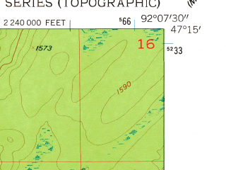 Reduced fragment of topographic map en--usgs--024k--009791--(1957)--N047-15-00_W092-15-00--N047-07-30_W092-07-30