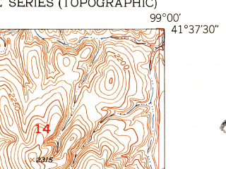 Reduced fragment of topographic map en--usgs--024k--009793--(1952)--N041-37-30_W099-07-30--N041-30-00_W099-00-00