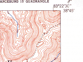 Reduced fragment of topographic map en--usgs--024k--009808--(1951)--N038-45-00_W083-30-00--N038-37-30_W083-22-30; towns and cities Concord, Rome