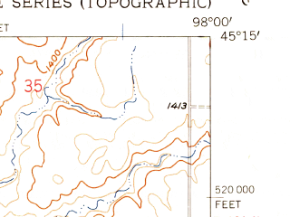 Reduced fragment of topographic map en--usgs--024k--009826--(1958)--N045-15-00_W098-07-30--N045-07-30_W098-00-00; towns and cities Conde, Verdon