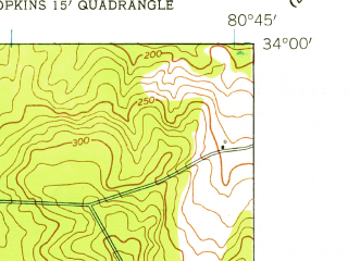 Reduced fragment of topographic map en--usgs--024k--009850--(1953)--N034-00-00_W080-52-30--N033-52-30_W080-45-00