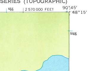 Reduced fragment of topographic map en--usgs--024k--009874--(1959)--N048-15-00_W090-52-30--N048-07-30_W090-45-00 in area of Morris Lake