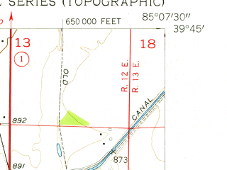 Reduced fragment of topographic map en--usgs--024k--009875--(1956)--N039-45-00_W085-15-00--N039-37-30_W085-07-30; towns and cities Connersville