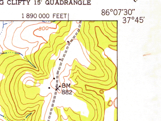 Reduced fragment of topographic map en--usgs--024k--009902--(1949)--N037-45-00_W086-15-00--N037-37-30_W086-07-30