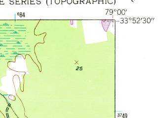 Reduced fragment of topographic map en--usgs--024k--009923--(1943)--N033-52-30_W079-07-30--N033-45-00_W079-00-00; towns and cities Conway, Red Hill