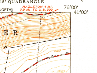 Reduced fragment of topographic map en--usgs--024k--009929--(1949)--N041-00-00_W076-07-30--N040-52-30_W076-00-00; towns and cities Conyngham, West Hazleton