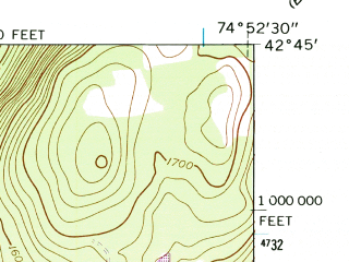 Reduced fragment of topographic map en--usgs--024k--010008--(1943)--N042-45-00_W075-00-00--N042-37-30_W074-52-30; towns and cities Cooperstown