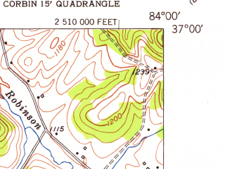 Reduced fragment of topographic map en--usgs--024k--010074--(1952)--N037-00-00_W084-07-30--N036-52-30_W084-00-00; towns and cities Corbin, North Corbin