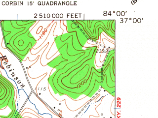 Reduced fragment of topographic map en--usgs--024k--010074--(1961)--N037-00-00_W084-07-30--N036-52-30_W084-00-00; towns and cities Corbin, North Corbin