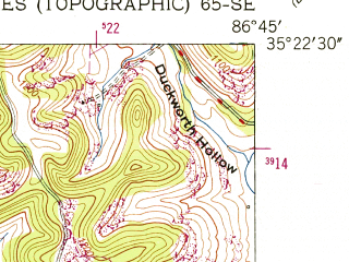 Reduced fragment of topographic map en--usgs--024k--010138--(1951)--N035-22-30_W086-52-30--N035-15-00_W086-45-00; towns and cities Cornersville