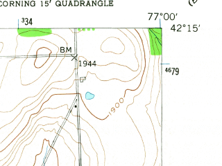 Reduced fragment of topographic map en--usgs--024k--010141--(1953)--N042-15-00_W077-07-30--N042-07-30_W077-00-00; towns and cities Corning, Painted Post, Riverside